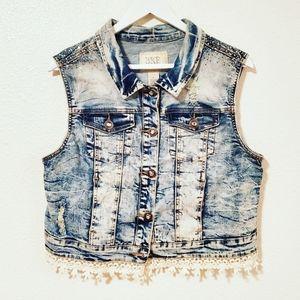 BKE Outerwear Embellished Distressed Denim Vest